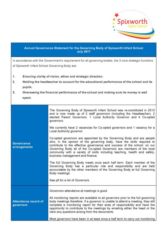 thumbnail of Spixworth Infant School Governance statement Summer 2017