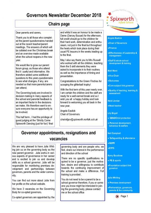 thumbnail of governor newsletter December 2018
