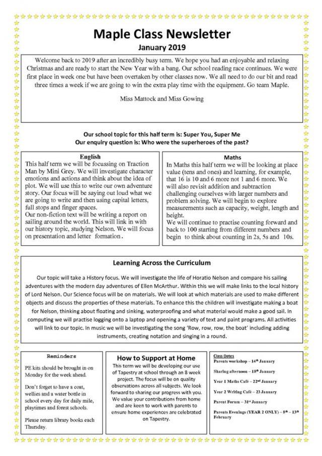 thumbnail of Maple Class Newsletter January 2019
