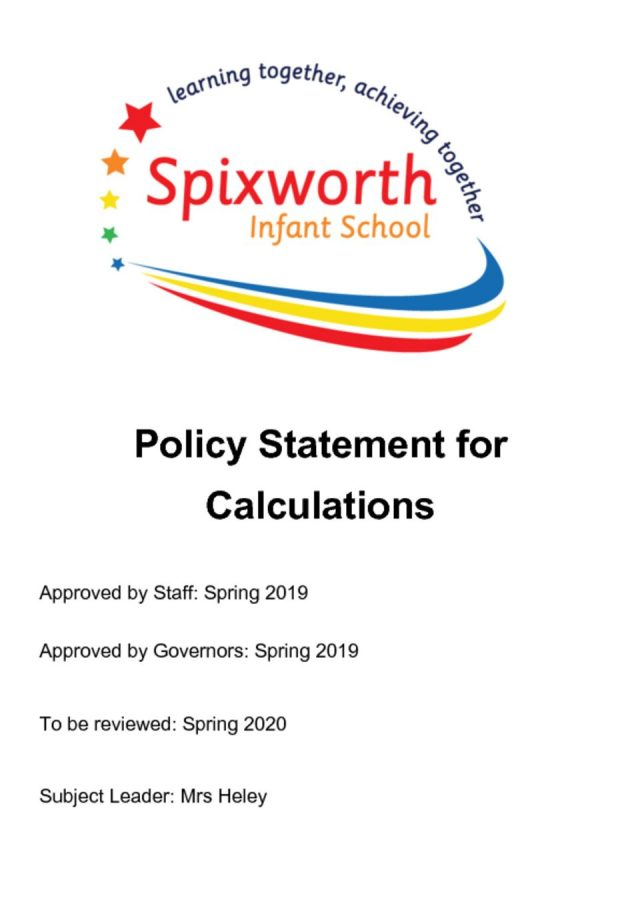 thumbnail of Calculations Policy FEB 2018 Draft (last edited May 2018)