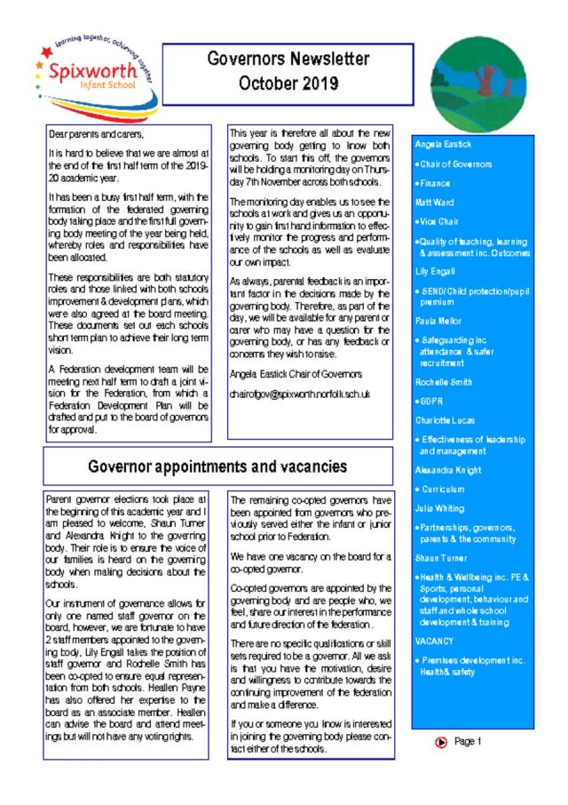 thumbnail of Governor Newsletter October 19