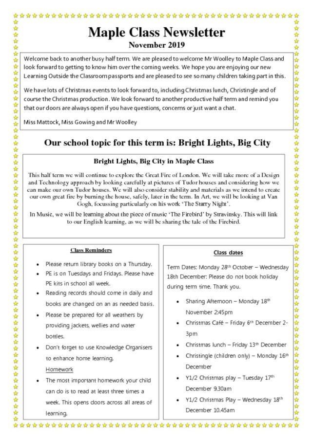 thumbnail of Class Newsletter Autumn 2 MAPLE