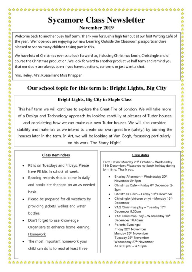 thumbnail of Class Newsletter Autumn 2 Sycamore