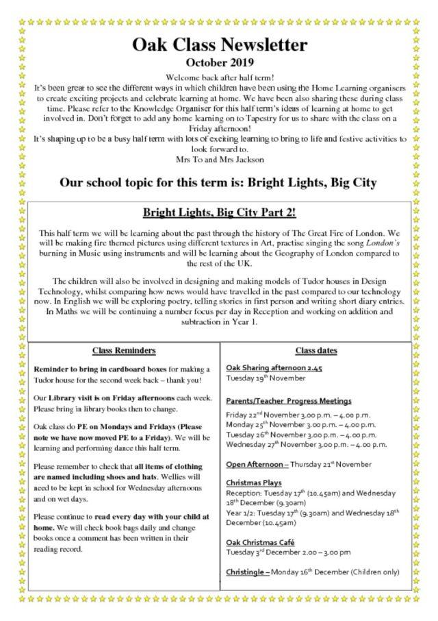 thumbnail of Oak Class Newsletter
