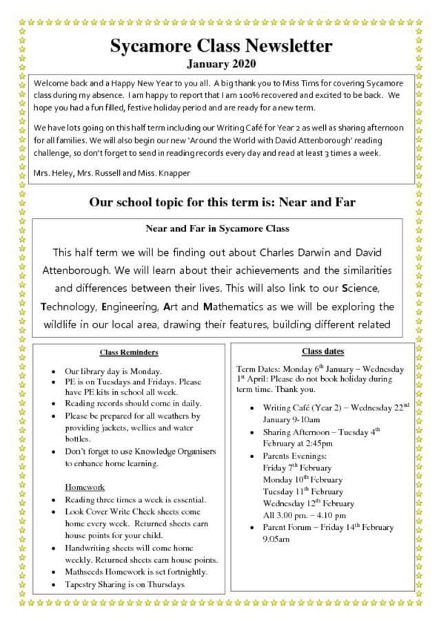 thumbnail of Sycamore Class Newsletter Spring 1
